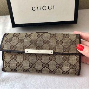 GUCCI GG Canvas & Brown Leather Long Wallet Clutch